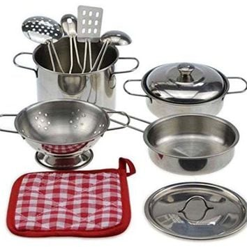 Metal Pots and Pans Kitchen Cookware Playset for Kids with Cooking Utensils Set