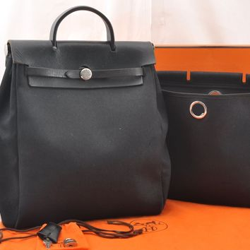Auth HERMES Her Bag PM & MM 2Way Backpack Hand Bag Black Box 56930