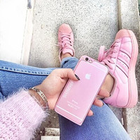 """Fashion Shell-toe """"Adidas"""" Flats Sneakers Sport Shoes Pure color Pink"""