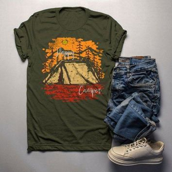 Men's Happy Camper T Shirt Fall Camping Camp Tent Illustration Forest Graphic Tee