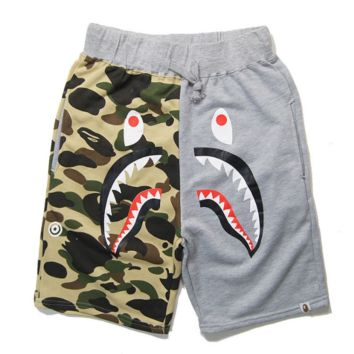 Bape Aape Summer Fashion New Shark Tiger Print Camouflage Women Men Splice Shorts Gray