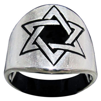 Woven Hexagram Ring Star of David in Sterling Silver 925
