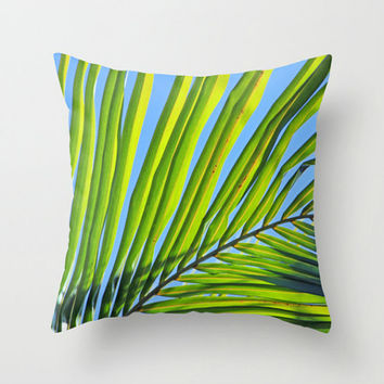Decorative Throw Pillow Cover - Tropical Home Decor Pillow - Green Palm Frond and Blue Sky - Beach Home Decor