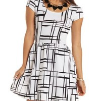 Cap Sleeve Abstract Print Skater Dress - Ivory Combo