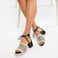 River Island sandals in canvas with block heel at asos.com