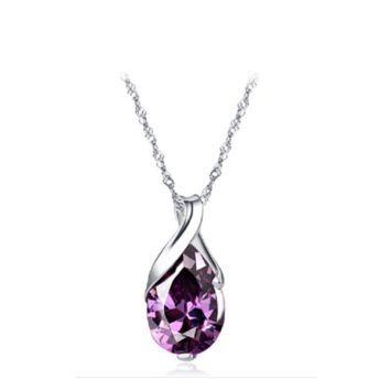 Purple Zircon Teardrop Pendant Chain Choker Necklace For Women