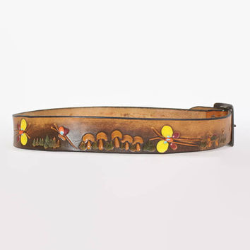Vintage 70s Tooled BELT / 1970s Brown Leather Butterflies & Mushrooms Painted Hippie Belt