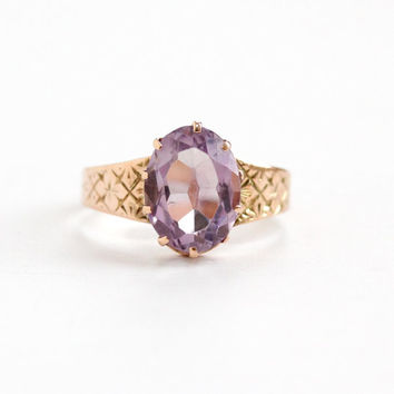 Antique Victorian 10k Rose Gold Rose de France Amethyst Ring - 1800s Size 5 1/2 Large Light Purple Oval Gem Etched Flower Fine Jewelry