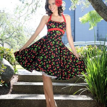 Daisy Swing Dress in Black Cherry Print | Pinup Girl Clothing