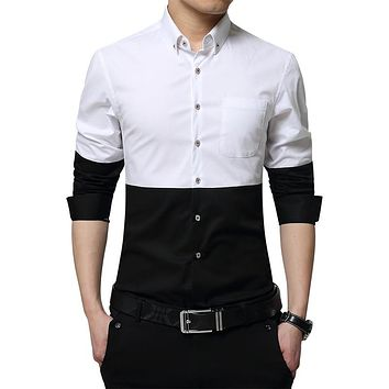 Shirts Long Sleeve Men Male High Quality Striped Shirts Casual Slim Fit Man Dress Black White Style Shirts