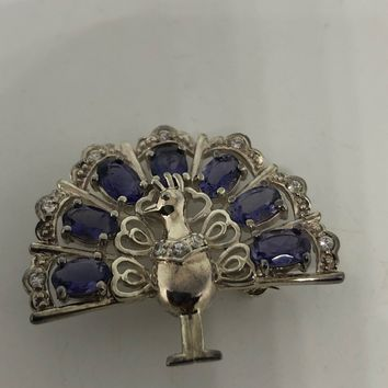 Vintage Blue Iolite peacock feather 925 Sterling Silver Brooch Pin pendant