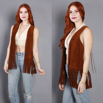 60s FRINGE Leather VEST / 1960s Russet Brown SUEDE Fringed Hippie Vest