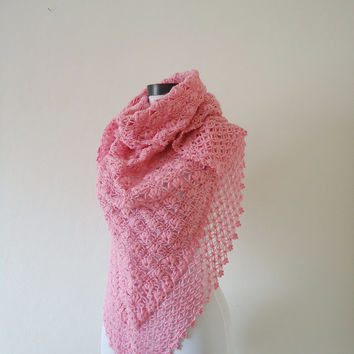 Triangle Pink Crochet Shawl, Bridal shawl