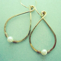 Gold Teardrop and Pearl Hoops