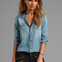 Joe's Jeans Two Tone Chambray Western Shirt in Spade from REVOLVEclothing.com
