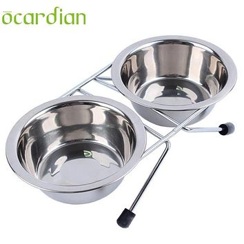 Stainless Steel Pet Dog Cat Puppy Travel Feeding Feeder Food Bowl Water Dish Dog Feeders U6913