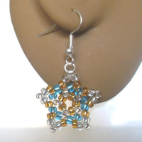 Handmade Beaded Star Earrings! Gold, Silver & Blue Star Earrings, Christmas Jewellery, Beaded Earrings, Festive Jewelry, Sercret Santa Gift