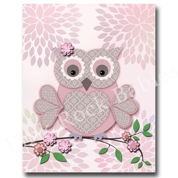 Pink owl nursery wall decor bird nursery wall art for baby girl room decor children artwork kids room decor playroom decor pink nursery art