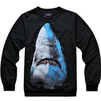 Mens Spring Plus Size Space Galaxy Black Shark Sweatshirt