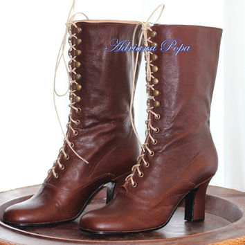 Brown Victorian High Heel Lace up Boots Brown Leather Ankle boots Order your customized size