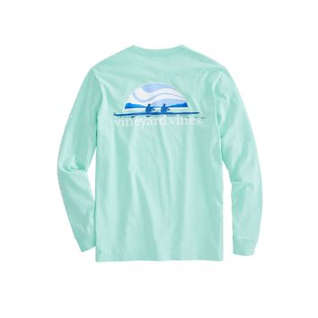 Vineyard Vines, Long-Sleeve Rowing Pocket T-Shirt, Hammock Green