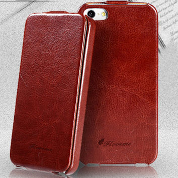 4S 5S SE Capa Slim Vintage Crazy Horse PU Leather Flip Case For Apple iPhone 4 4S 5 5S SE 4G Full Protection Cover Shell Sleeve