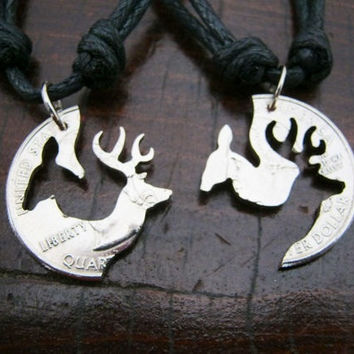 Buck and Doe Quarter Necklace,Interlocking Jewelry, Interlocking necklace, cut coins jewelry, engaged couples, browning.
