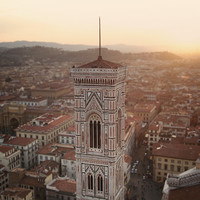 Sunset Photography, Italy Architecture Photo, Cream, Peach and Brown Travel Photograph, Fine Art Print - Over the Rooftops