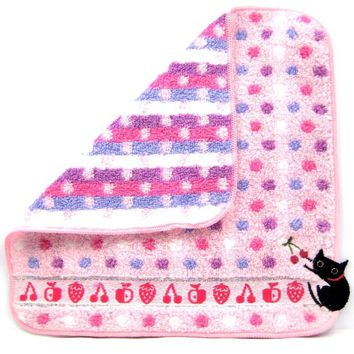Black Kitty Cat Embroidered Polka Dotted Handkerchief Face Towel in Pink | Japan