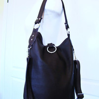 Dark Brown Leather Fold Over Bag