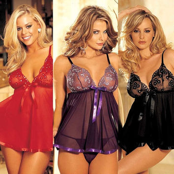 Women's Sexy Lingerie M-6XL Plus Size Sheer Mesh Sleepwear Night Dress with G String for Adult = 1958595332