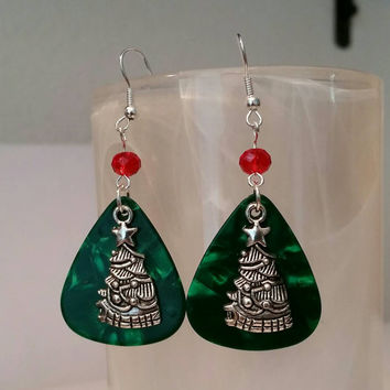 Guitar Pick Jewelry by Betsy's Jewelry - Guitar Pick Earrings - Christmas Jewelry - Christmas Trees - Holiday - Festive Jewelry