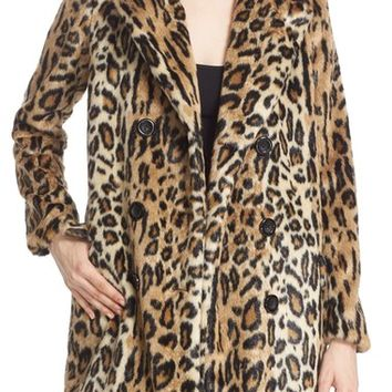 Alice + Olivia 'Montana' Leopard Print Faux Fur Double Breasted Coat | Nordstrom