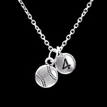 Choose Number, Baseball Softball Sports Gift Charm Necklace