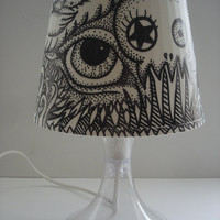 Altered Ikea Hacked Lampan OOAK Pointillism Pen and Ink Shade Skull, All Seeing Eye, Tenticals, weird art