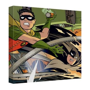 Batman - Batman And Robin In Car Chase Canvas Wall Art With Back Board
