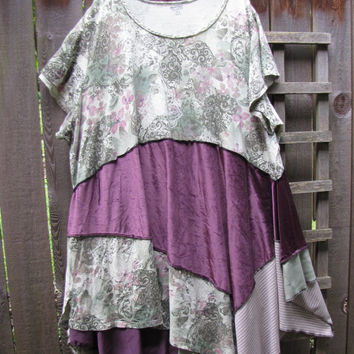 Upcycled Purple Green Plus Size Lagenlook Tunic Shirt/ Funky Asymmetrical Eco Blouse/ Womens Tops 5X