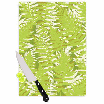 "Jacqueline Milton ""Fun Fern - Green"" Green Floral Cutting Board"