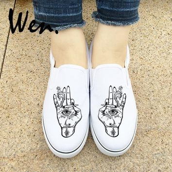 Wen Original Flat Slip on Canvas Shoes Design Hand Palm Eyes Smoke Athletic Sneakers Unisex  Outdoor Sport Plimsolls Footwear