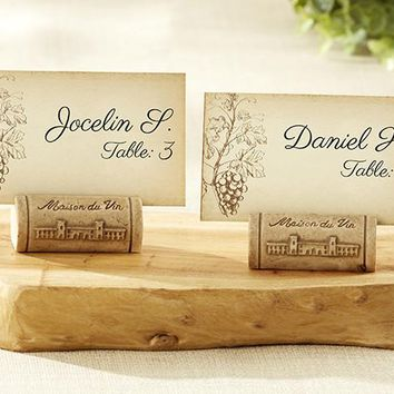 """Maison Du Vin"" Wine Cork Place Card/Photo Holder With Grape-Themed Place Cards (Set Of 4)"