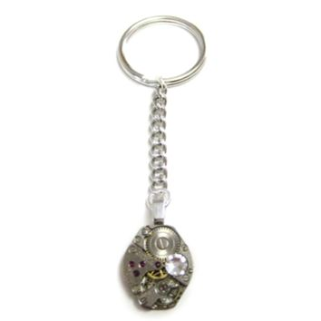 Supermarket: Rounded Steampunk Watch Gear Key Chain with Clear Swarovski Crystals from Avant Garde Design