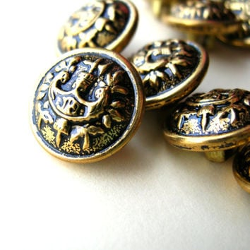 Vintage Heraldic Buttons - Button Lot - Metal Buttons - - Vintage Brass Buttons - Brass Button Lot - 15mm Buttons