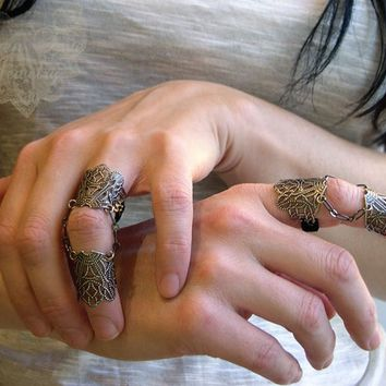 Lombardy Knuckle Ring Armor Ring Gothic Flourish Filigree Double Ring One Ring