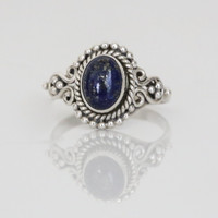 Sterling Silver Lapis Lazuli Ring Oval US 6