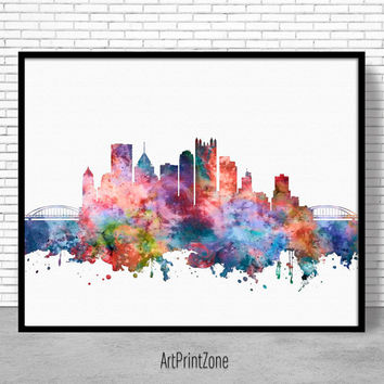 Pittsburgh Skyline, Pittsburgh Print, Pittsburgh Pennsylvania, Office Decor, City Skyline Prints, Office Poster, Cityscape Art, ArtPrintZone