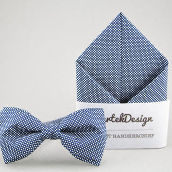 Blue Bow Tie Blue Pocket Square Blue Matching Set Mens Bow Tie Pocket Square Dotted Bow Tie for Men Dotted Pocket Square Groomsmen Gift