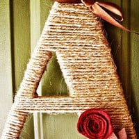 Jute Twine Monogram Winter Wreath With Handcrafted Flowers and Ribbons! Valentine's Day!!!