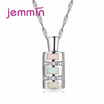 Jemmin Unique Bottle Design White Opal Pendant Women Necklace 925 Sterling Silver Chain Crystal Necklaces for Women Jewelry Gift