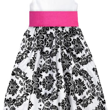 White Taffeta & Black Velvet Girls Dress w. Fuchsia Sash 2T-12