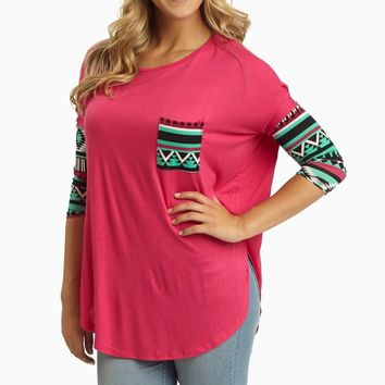 Fuchsia Tribal Printed Sleeve Top